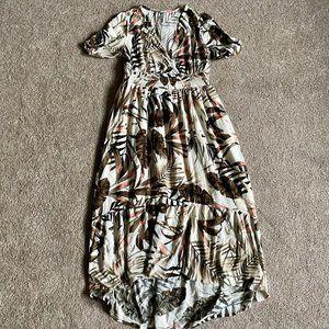 Hi-lo tropical print maxi dress